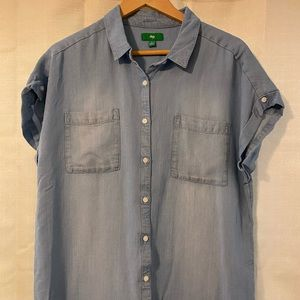 Short sleeve denim button up